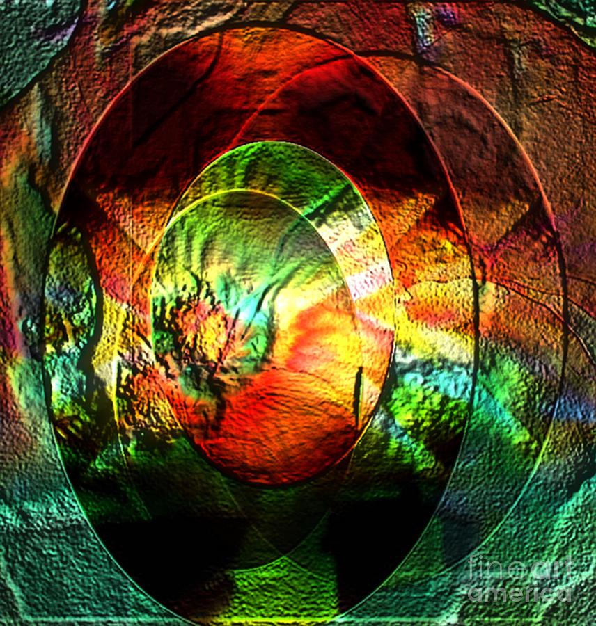 Blue Prints Digital Art - Stamped Mirror Of Love by Gayle Price Thomas