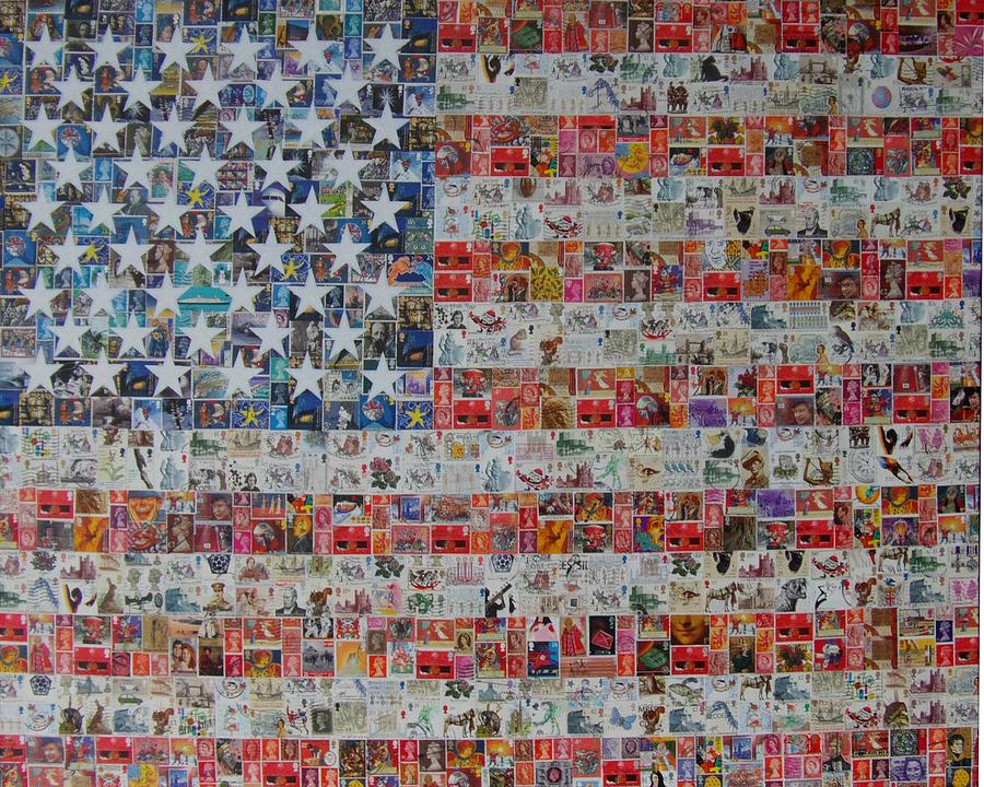 Stars And Stripes Painting - Stamps And Stripes Renegade Colony by Gary Hogben