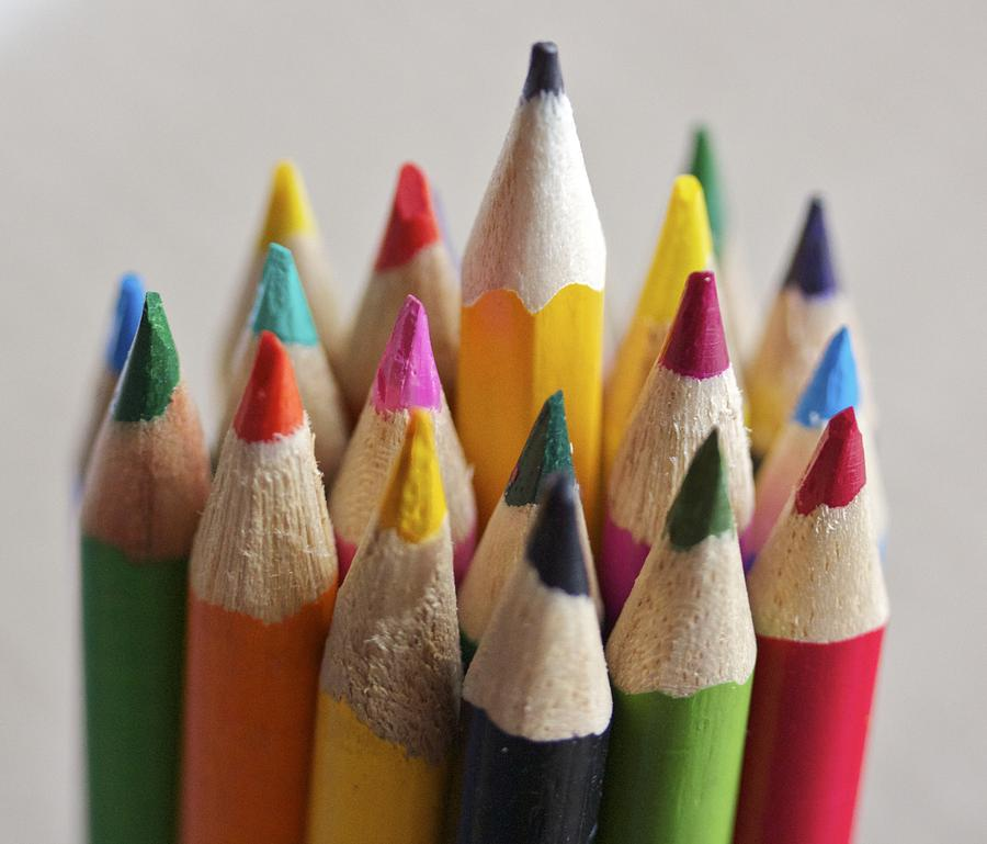 Colored Pencils Photograph - Stand Out Among The Colors by Jennifer Lamanca Kaufman
