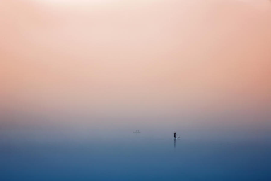 Pastel Photograph - Stand Up Paddling by Uschi Hermann