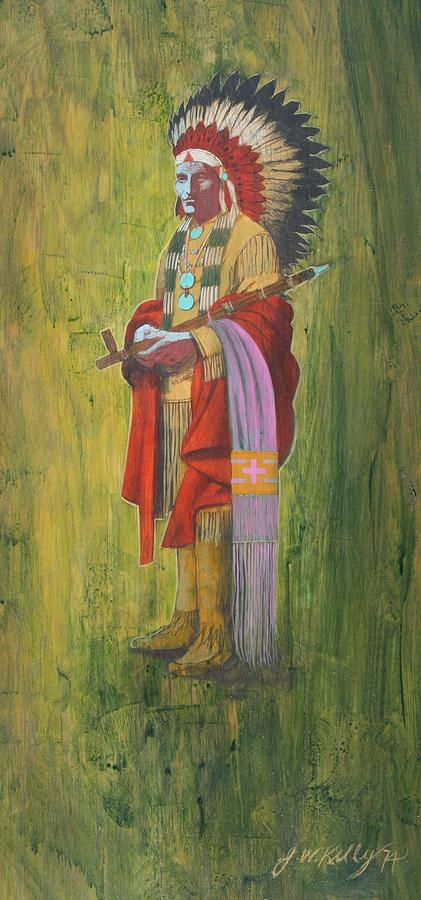 Standing Chief Red Cloud Painting by J W Kelly