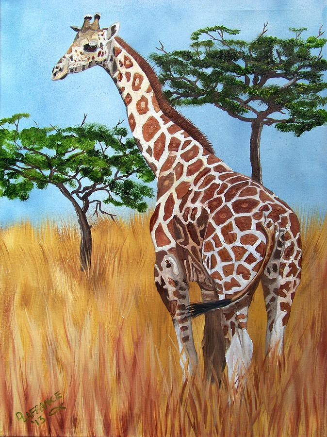 Standing Giraffe Painting By Debbie Lafrance
