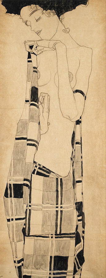Egon Schiele Drawing - Standing Girl by Egon Schiele