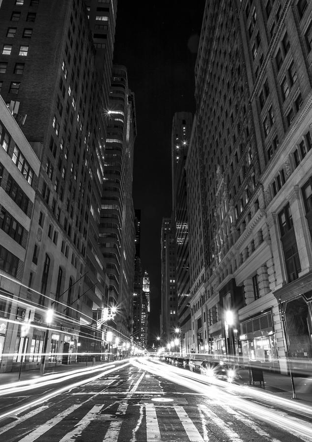 City photograph standing in traffic in new york city black and white by david morefield