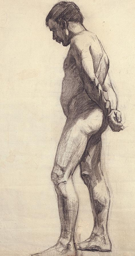 Standing; Male; Nude; Drawing; Study; Sketch; Pensive; Nabis; Les Nabis; 19th; 20th; Hands Behind Back Painting - Standing Male Nude by Felix Edouard Vallotton