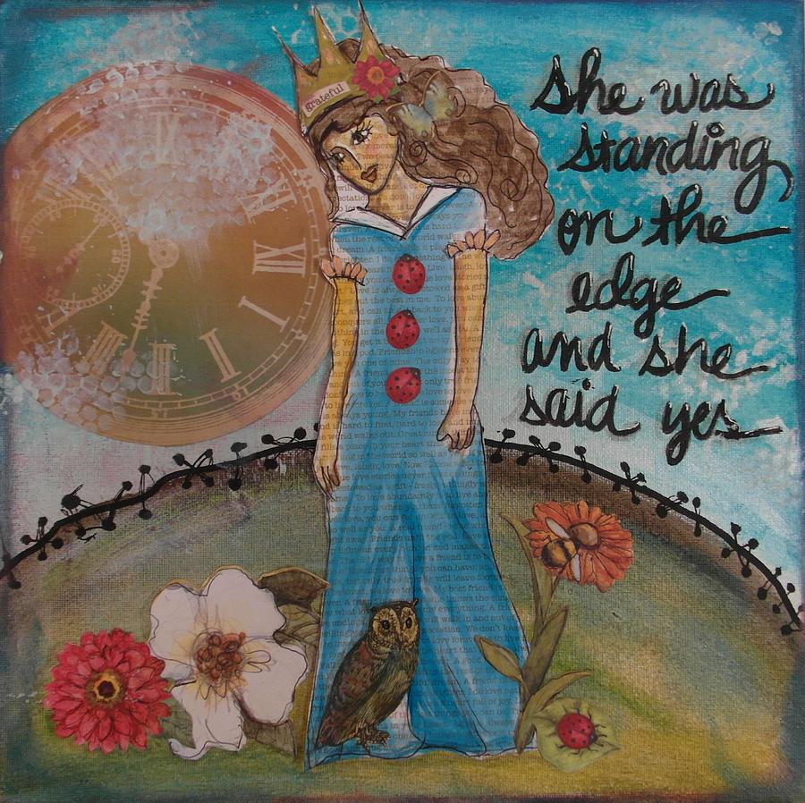 Woman Mixed Media - Standing On The Edge Of Destiny by Debbie Hornsby