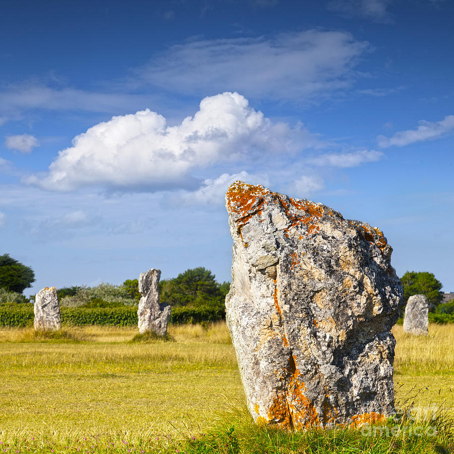 Ancient Photograph - Standing Stones Lagatjar Camaret Sur Mer Brittany France by Colin and Linda McKie