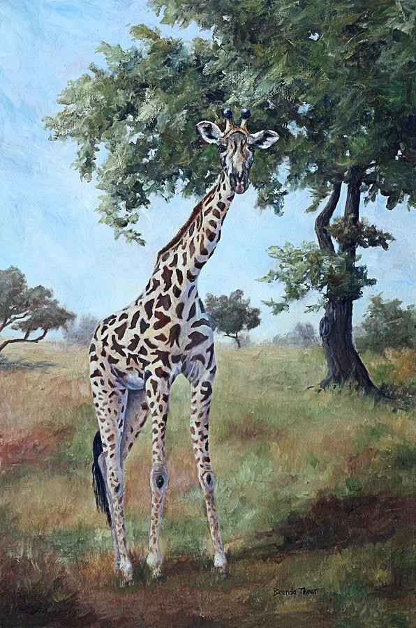 Giraffe Painting - Standing Tall by Brenda Thour