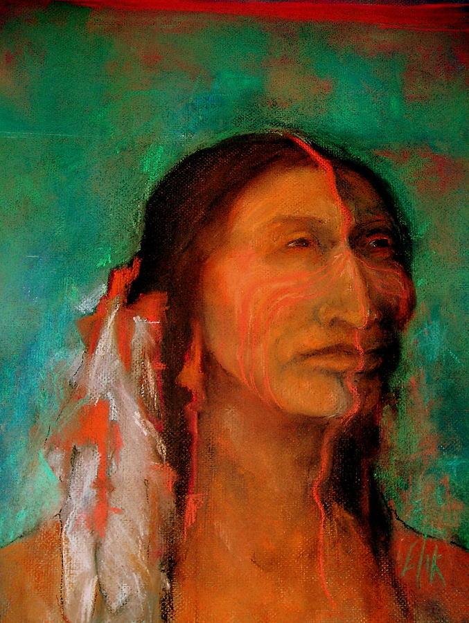 Native American Theme Artwork Pastel - Stands Tall by Johanna Elik
