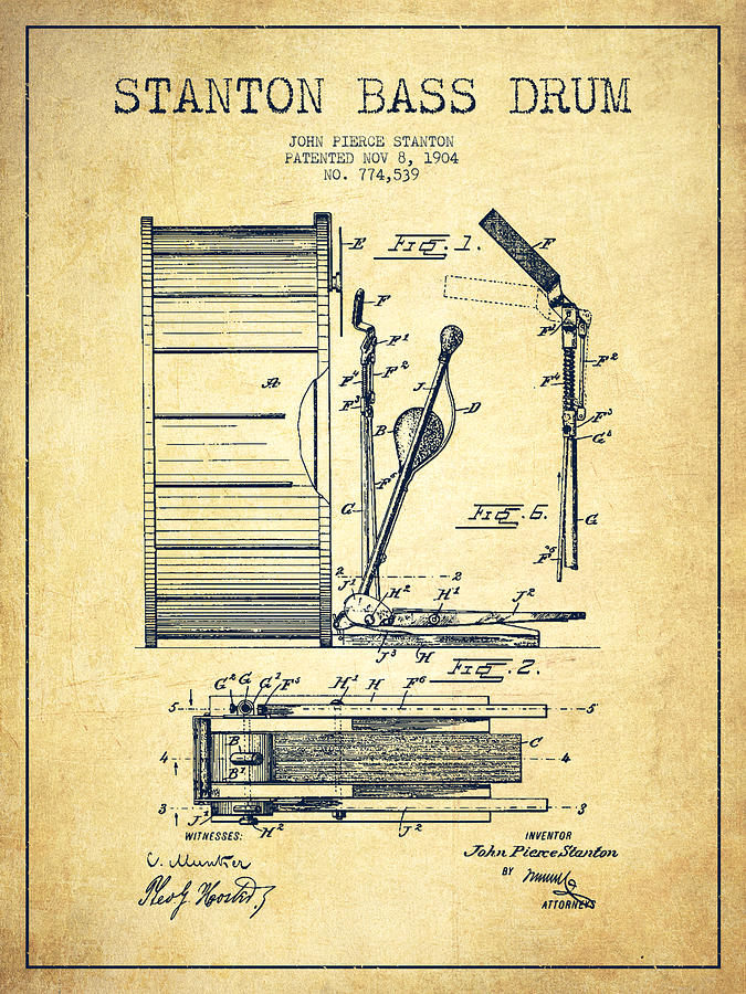 Stanton Bass Drum Patent Drawing From 1904