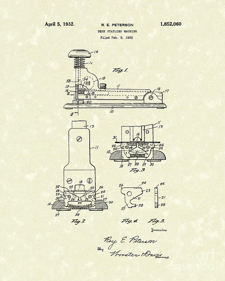 Peterson Drawing - Stapler 1932 Patent Art by Prior Art Design