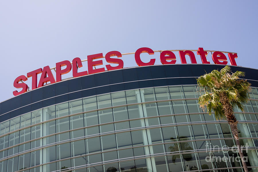 America Photograph - Staples Center Sign In Los Angeles California by Paul Velgos