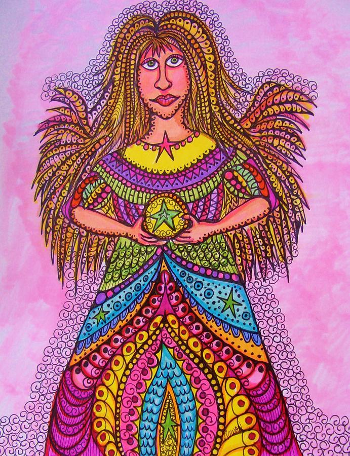 For Little Girls Room  Drawing - Star Angel by Gerri Rowan