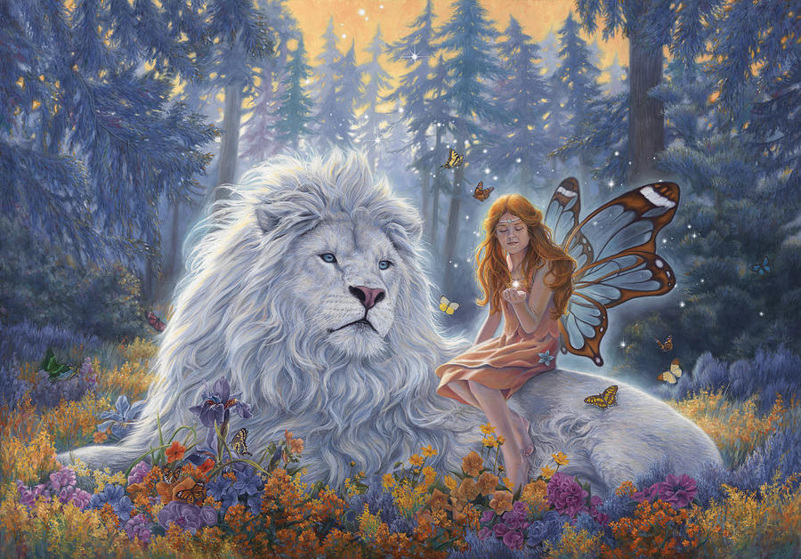 White Lion Painting - Star Birth by Lucie Bilodeau