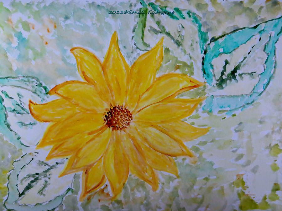 Greeting Card Painting - Star Flower by Sonali Gangane