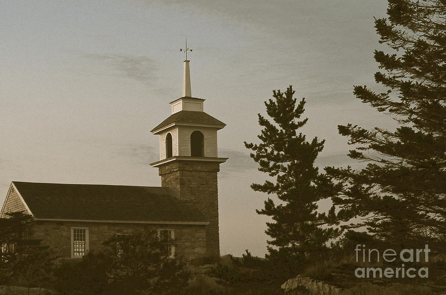 Star Island Chapel Dusk Photograph