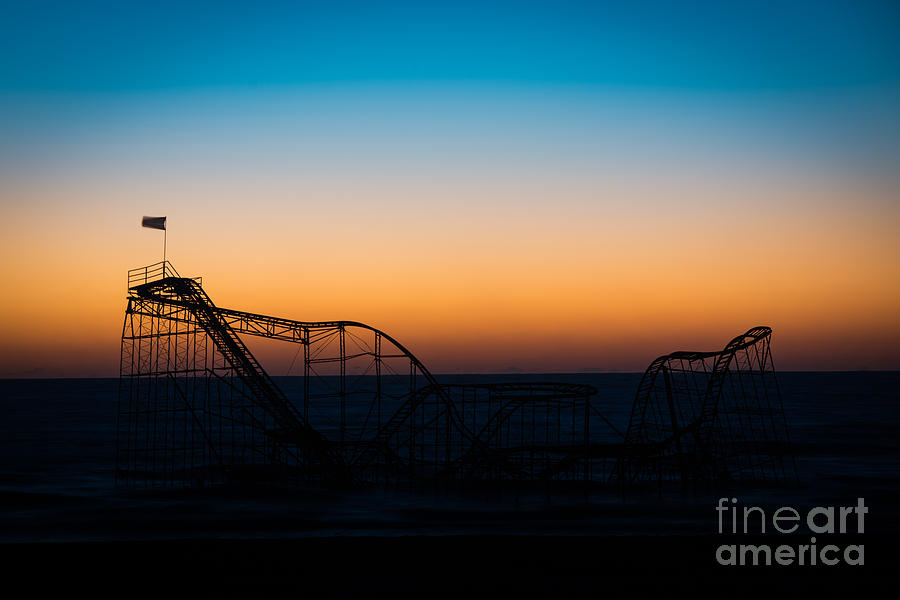Nikon D800 Photograph - Star Jet Roller Coaster Silhouette  by Michael Ver Sprill