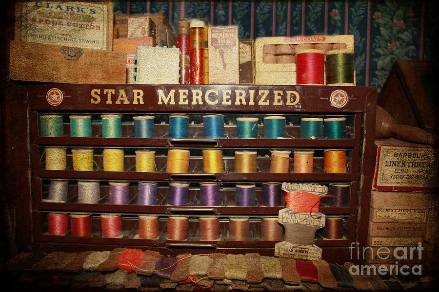 Sew Photograph - Star Mercerized Thread Display by Janice Rae Pariza