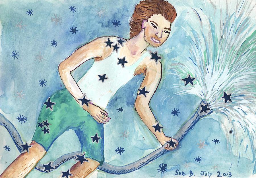 Zodiac Painting - Star Sign Aquarius by Sushila Burgess
