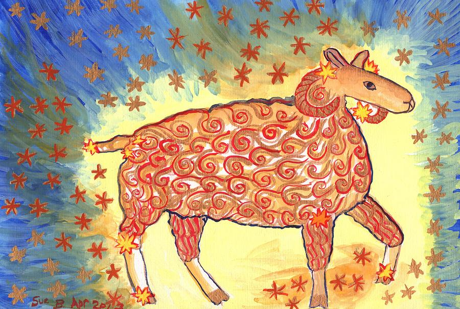 Zodiac Painting - Star Sign Aries by Sushila Burgess
