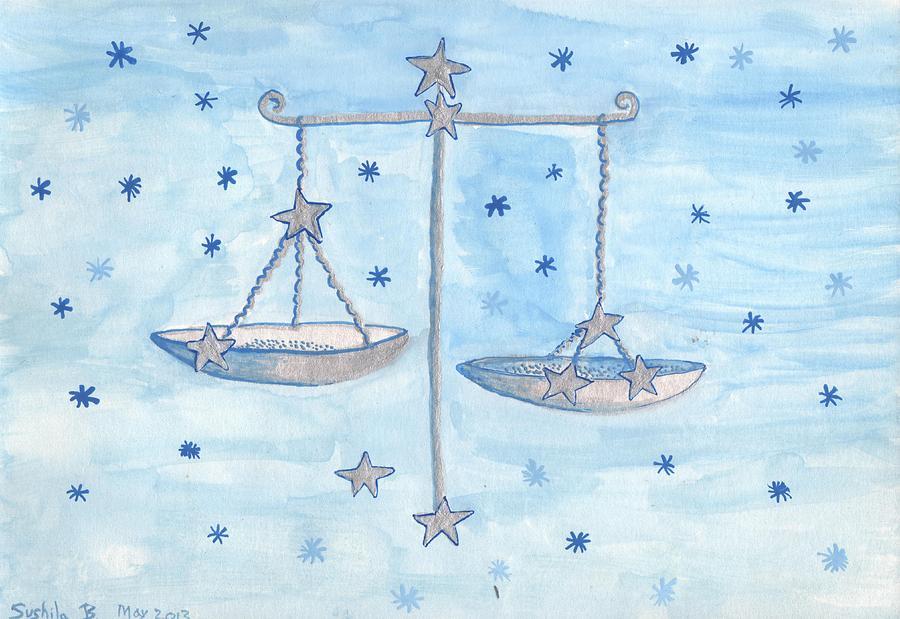 Zodiac Painting - Star Sign Libra by Sushila Burgess