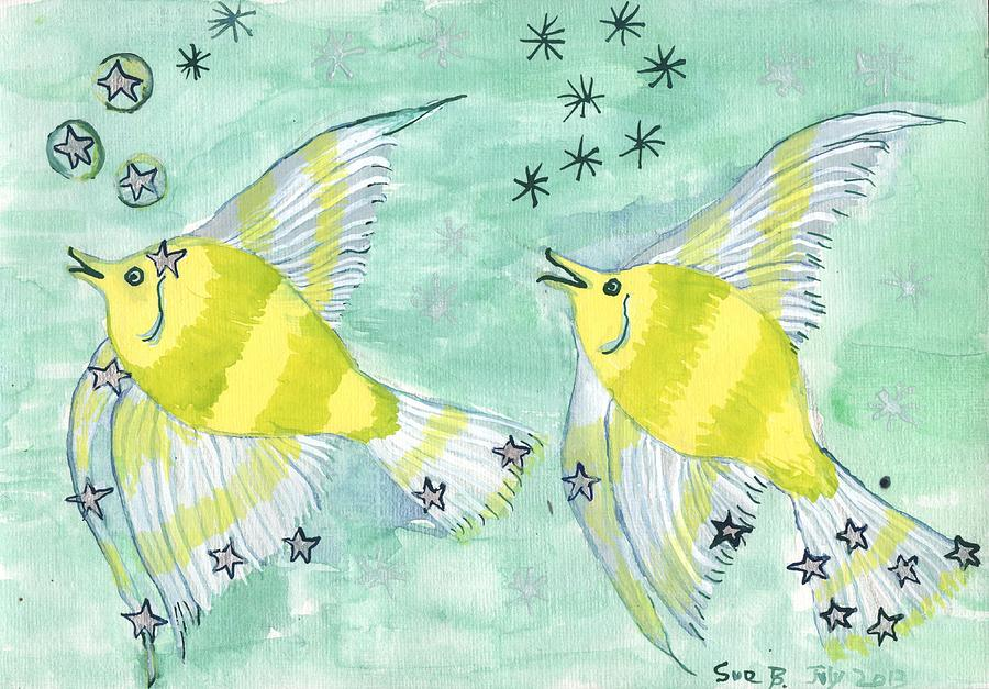 Zodiac Painting - Star sign Pisces by Sushila Burgess