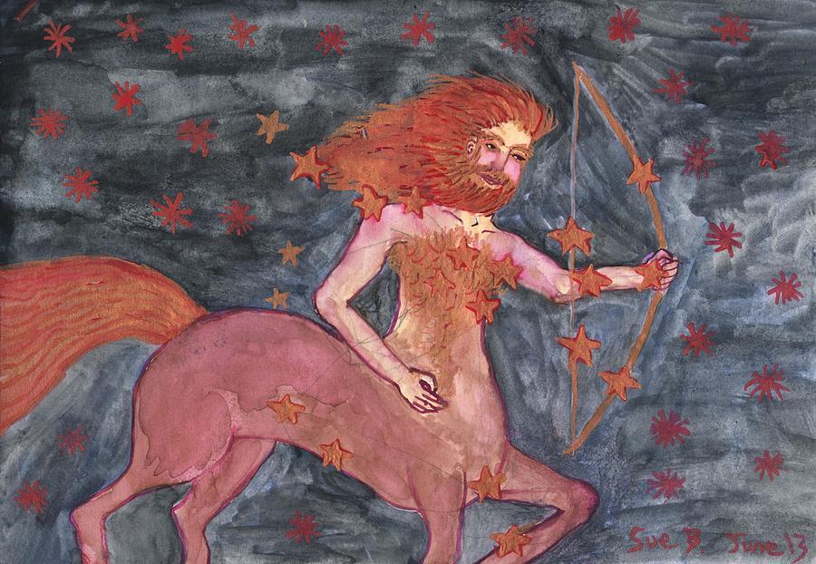 Zodiac Painting - Star Sign Sagittarius by Sushila Burgess