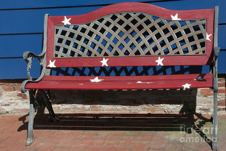 Bench Photograph - Star-Spangled Bench by Lauren Brice