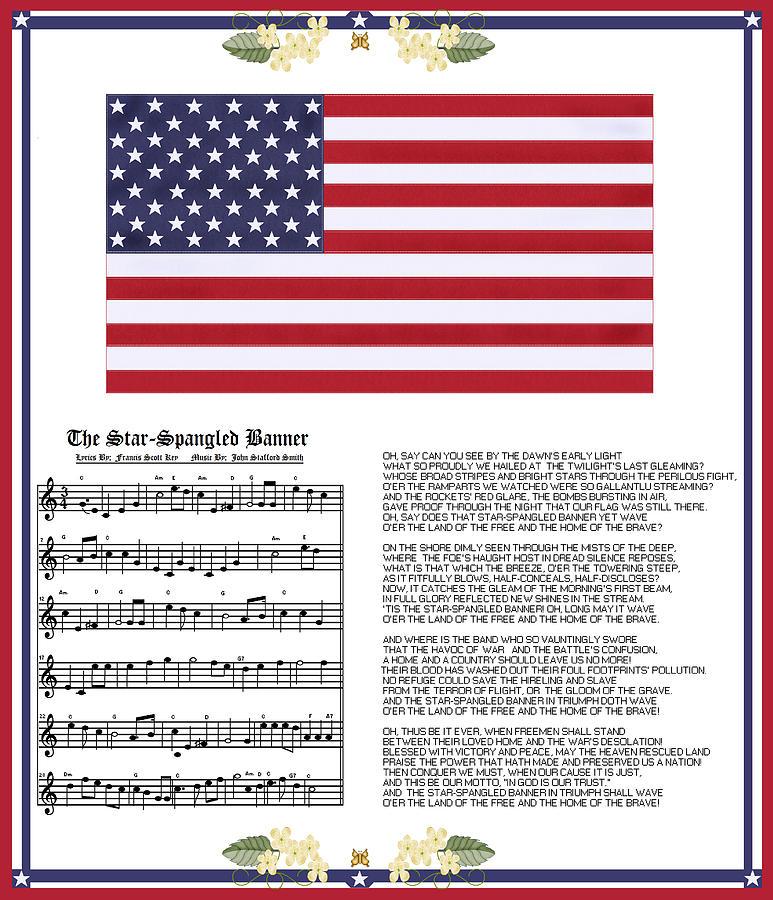 Star-spangled Banner Painting - Star Splangled Banner Music  Lyrics And Flag by Anne Norskog
