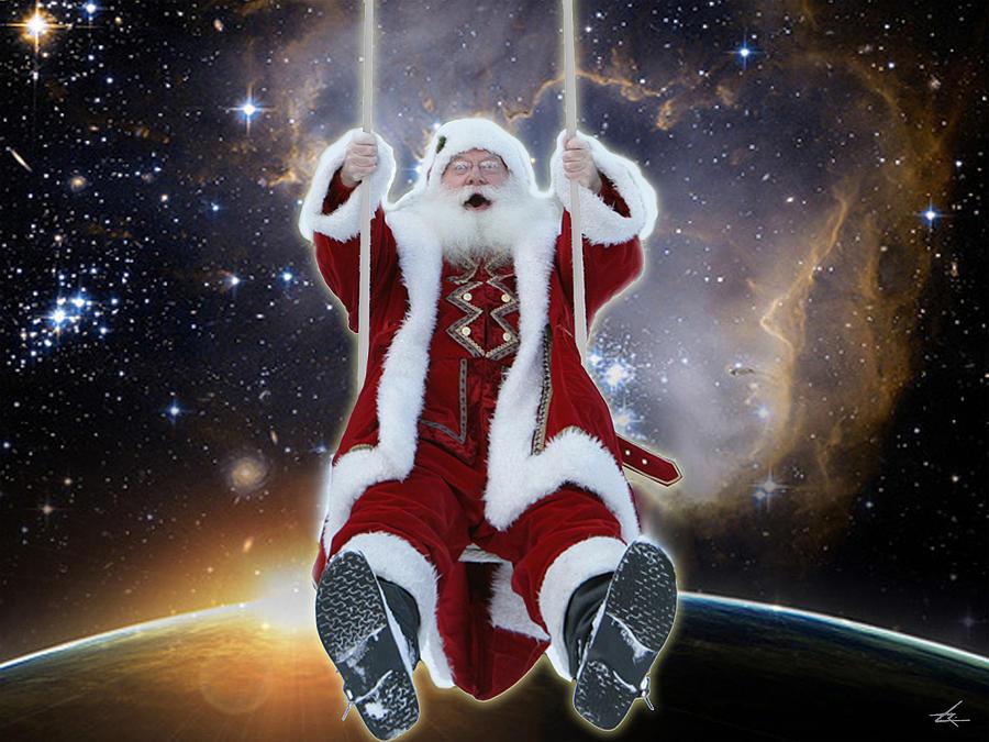 Santa Photograph - Santas Star Swing by Larry Rice