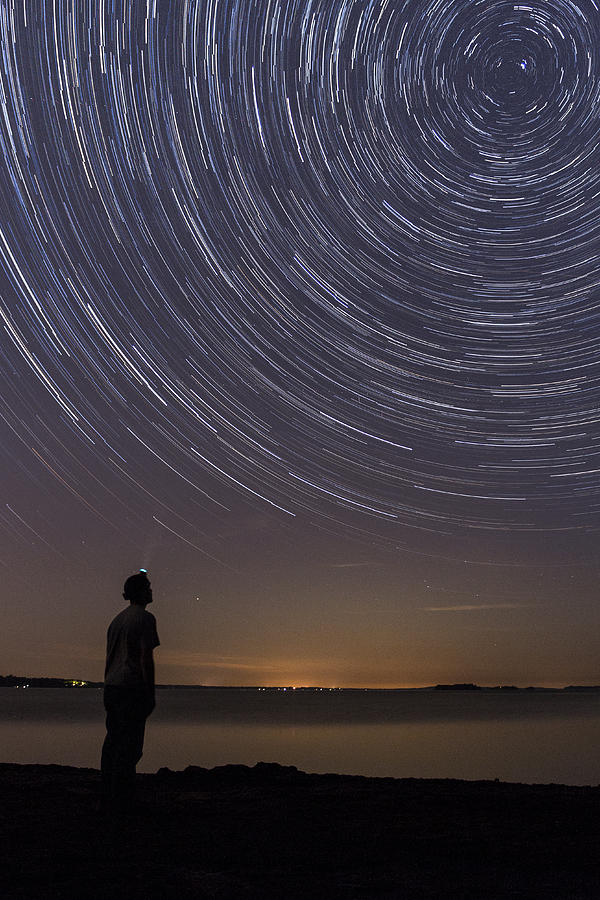 Night Sky Photograph - Star Trails Night Sky Landscape Vermont Lake Champlain by Andy Gimino