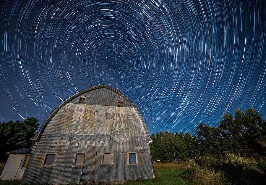Star Photograph - Star Trails Over Barn by Paul Freidlund