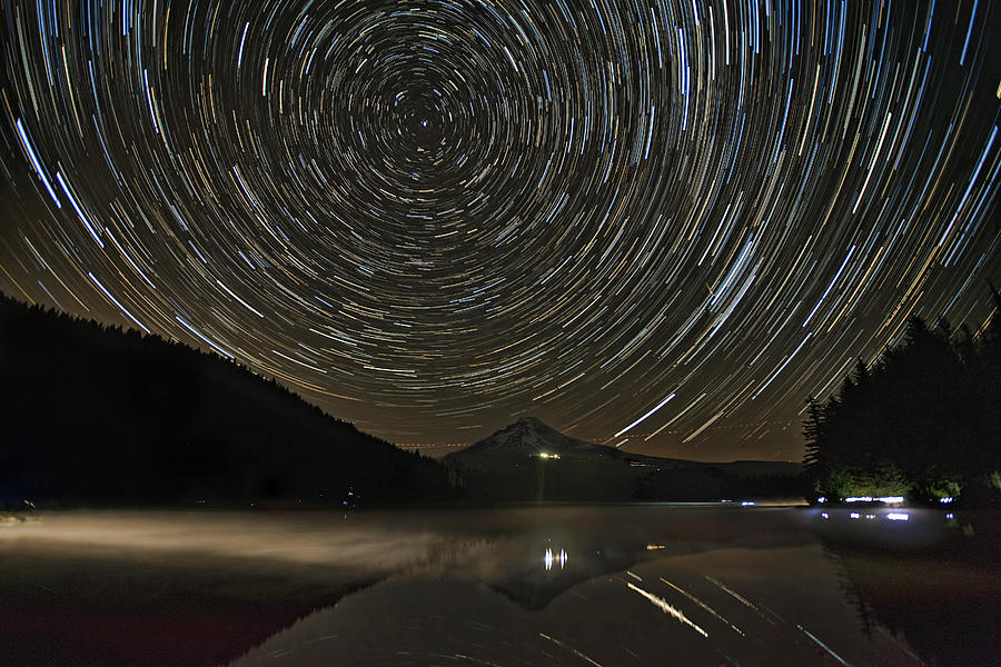 Star Trails Photograph - Star Trails Over Mount Hood At Trillium Lake by David Gn