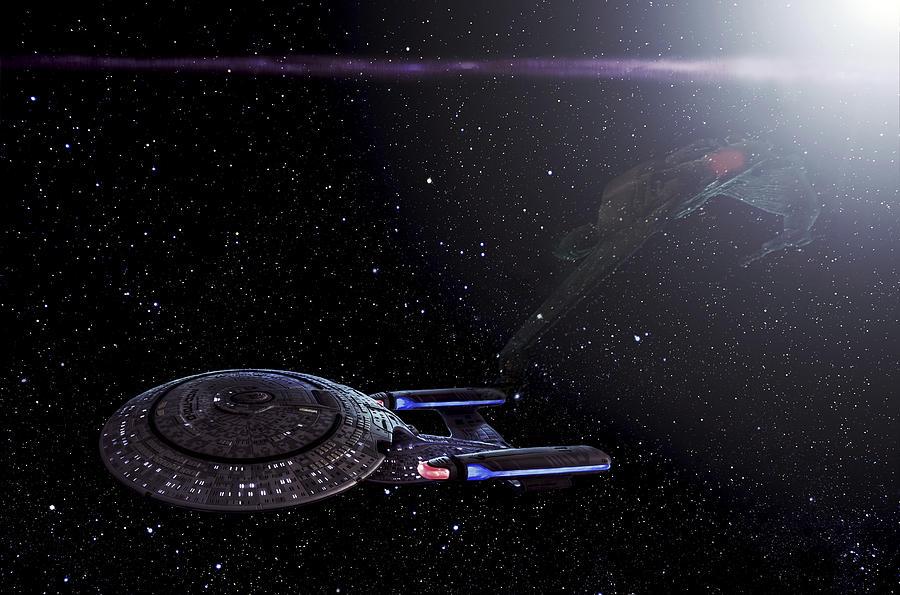 Star Trek Photograph - Star Trek - Ambush - Klingon Bird Of Prey - Uss Enterprise D by Jason Politte