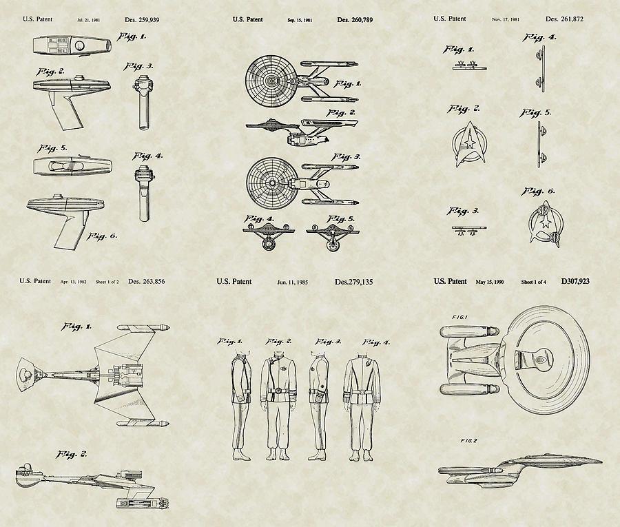 Star Trek Drawing - Star Trek Patent Collection by PatentsAsArt