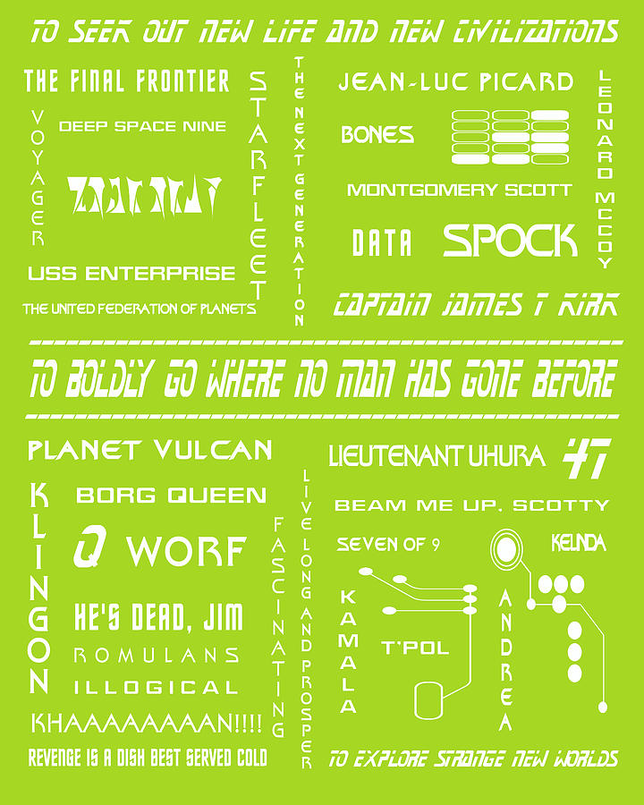 Star Trek Digital Art - Star Trek Remembered In Green by Georgia Fowler