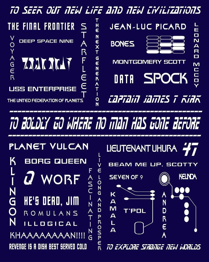 Star Trek Digital Art - Star Trek Remembered In Navy Blue by Georgia Fowler