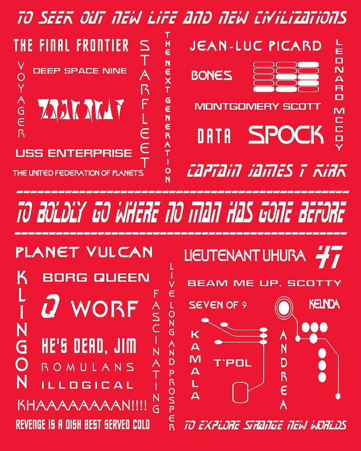 Star Trek Digital Art - Star Trek Remembered In Red by Georgia Fowler