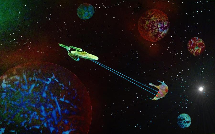 Star Trek Painting - Star Trek -uss Enterprise by Michael Rucker