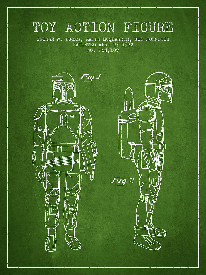 Star Wars Boba Fett Patent From 1982 Green Digital Art By Aged Pixel