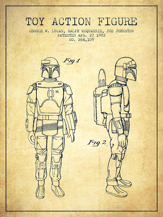 Star Wars Boba Fett Patent From 1982 Vintage Digital Art By Aged Pixel