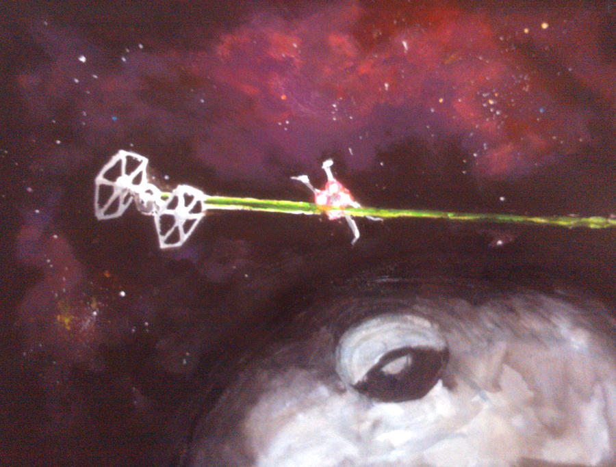 Star Wars Painting - Star Wars Dog Fight by Paul Mitchell
