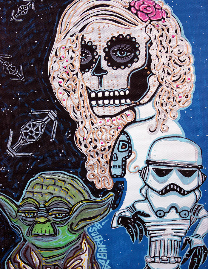 Space Painting   Star Wars Sugar Skull By Laura Barbosa