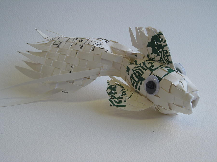 Coffee Cup Sculpture - Starbucks Gold Fish by Alfred Ng
