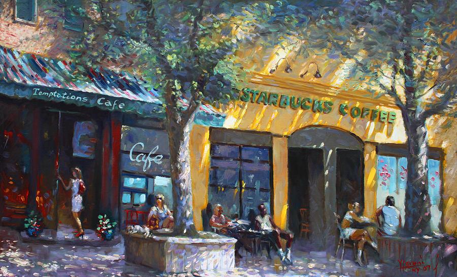 Coffee Painting - Starbucks Hangout Nyack Ny by Ylli Haruni