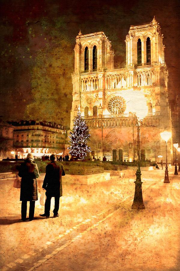 Paris At Night Photograph - Stardust Over Notre Dame De Paris Cathedral by Mark E Tisdale