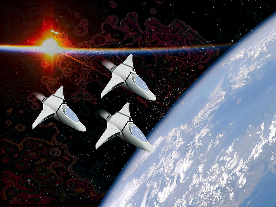 Planet Digital Art - Starfighters by Piero Lucia