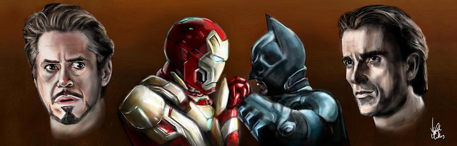 Batman Painting - Stark Industries Vs Wayne Enterprises by Vinny John Usuriello