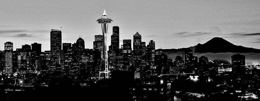 Seattle photograph stark seattle skyline by benjamin yeager