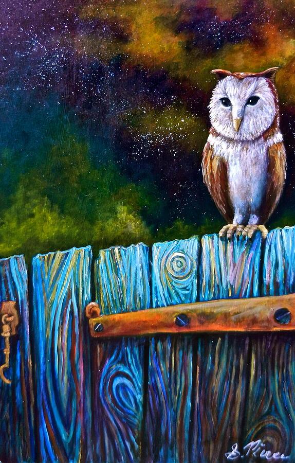Owl Painting - Starry Barn Owl by Sebastian Pierre